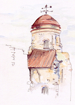 Colchester Castle , UK. Pen, ink & wash by Sue Pownall