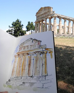 Pen and ink artwork with wash, created on site.  Temple of Athena  by Sue Pownall