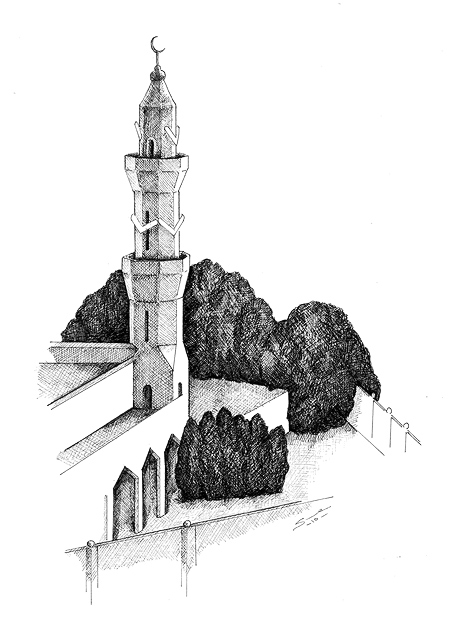 15th Street Mosque , Khartoum. Pen & ink 400x200mm © Sue Pownall 2010. Click on the artwork above to  view a larger version  with greater detail.