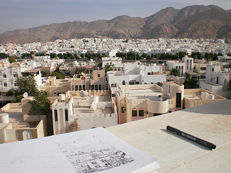 View of Al Khuwair, Oman. Notice Sue's ink sketch on the ledge.