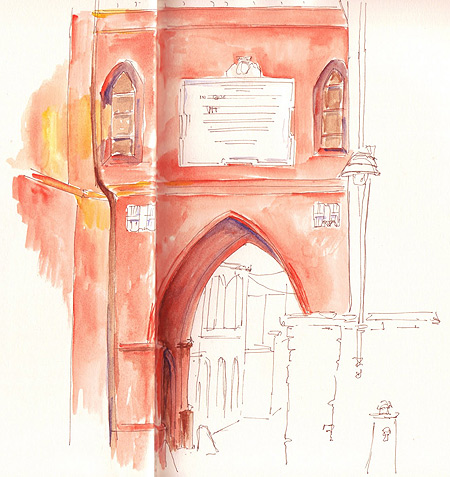 Coloured sketch of Chiesa di San Vittore in Pollenzo, Italy. by Sue Pownall