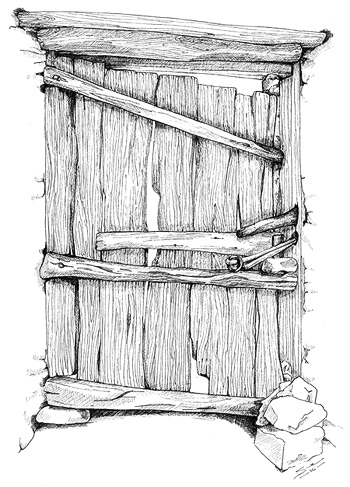 Khalifa's House Gate, Omdurman . Pen & ink 400x 200 mm. © Sue Pownall 2010 Click on the image above to view a larger version showing more detail.