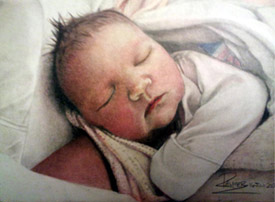 Baby Portrait Drawing by Allen Palmer