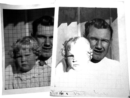 This work in progress demonstrates the grid method, with the reference photo on the left and the drawing on the right.
