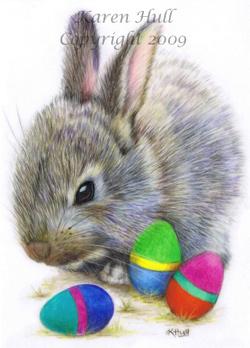 Easter Bunny Egg Drawing by Karen Hull