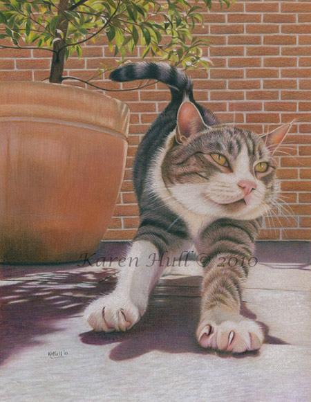 Cute Cat Drawing by Karen Hull