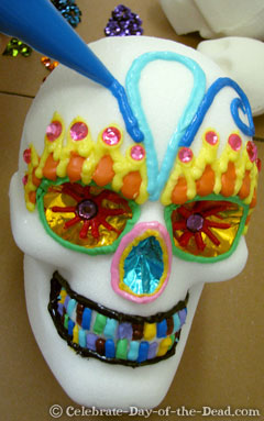 Colored Icing on Sugar Skull