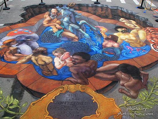 朱莉·柯克-珀塞尔的《四大洲》在佛罗里达州萨拉索塔粉笔节上展出