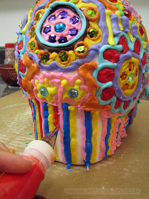 Decorating the Head of the Sugar Skull