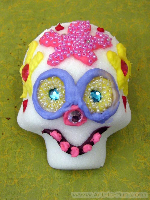 Decorating Sugar Skulls with Beads