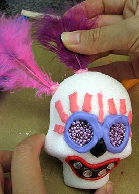 Attaching Feathers to a Sugar Skull