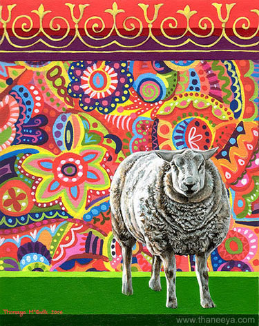 Colorful Sheep Painting by Thaneeya McArdle