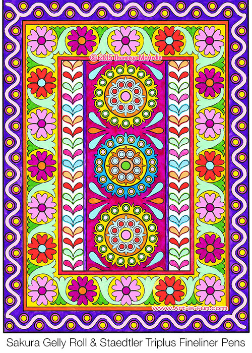 Indian Pattern Coloring Page from the Folk Art Coloring Book by Thaneeya McArdle