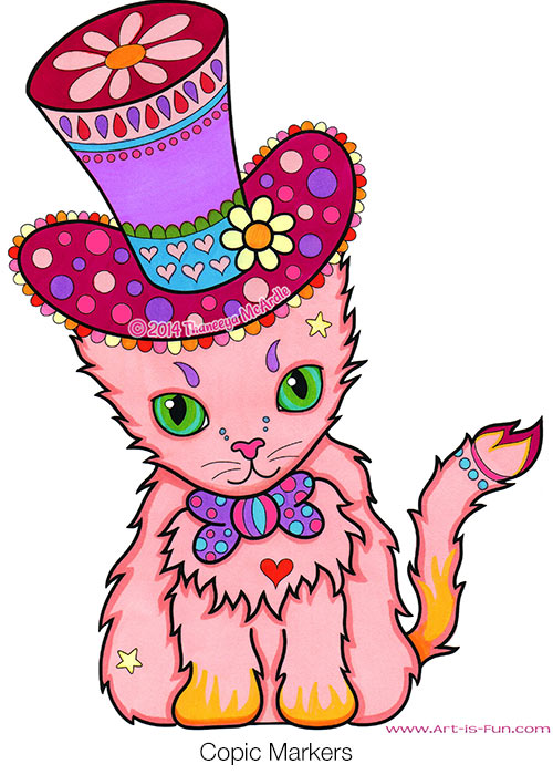 Cute Cat Coloring Page from the Dapper Animals Coloring Book by Thaneeya McArdle