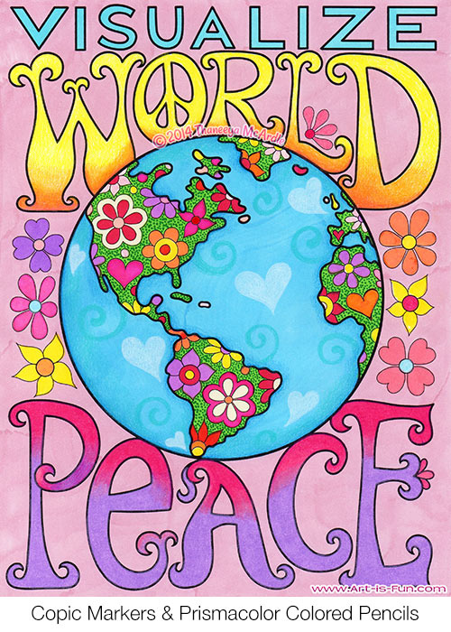 Visualize World Peace from the Peace & Love Coloring Book by Thaneeya McArdle