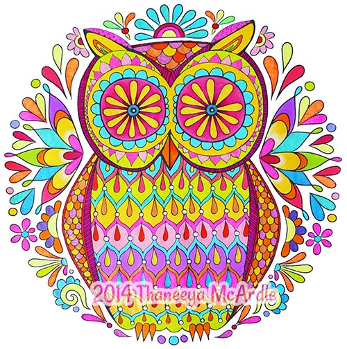 Colored Owl Nature Mandala by Thaneeya