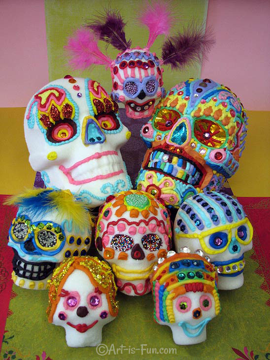 Real sugar skulls. Click to enlarge.   Click here to learn how to make your own!