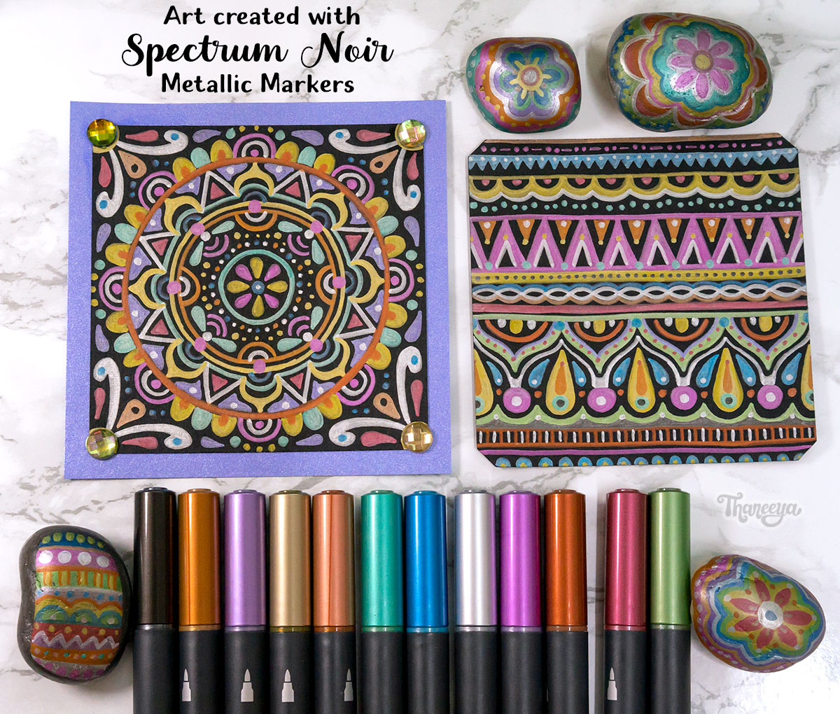 Spectrum Noir Artliners Review - Art on Black Paper and Rocks by Thaneeya McArdle