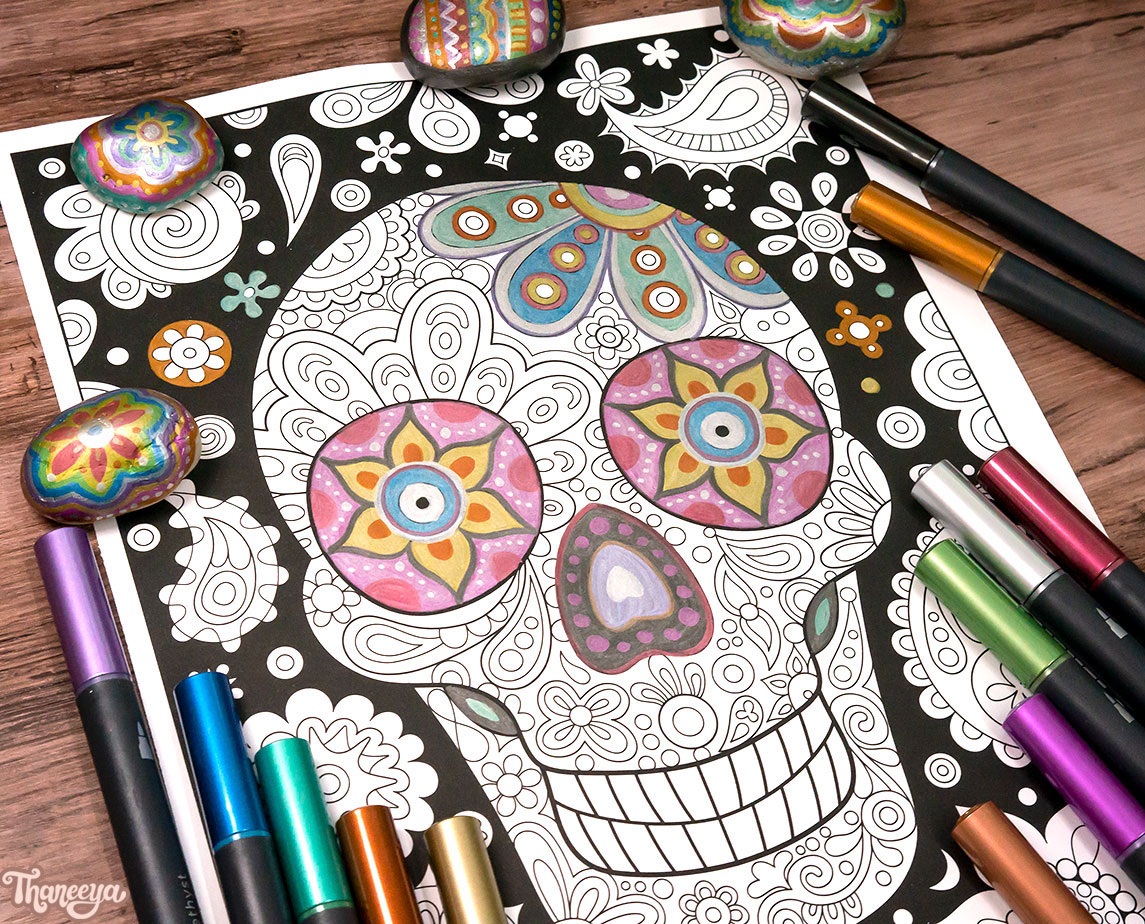 Coloring a sugar skull with Spectrum Noir Metallic Markers - Art by Thaneeya McArdle
