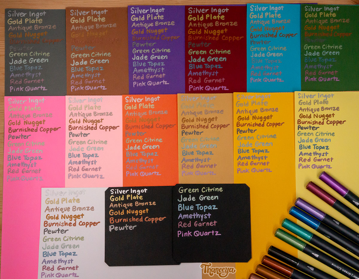 Spectrum Noir Metallic Markers on different colored papers