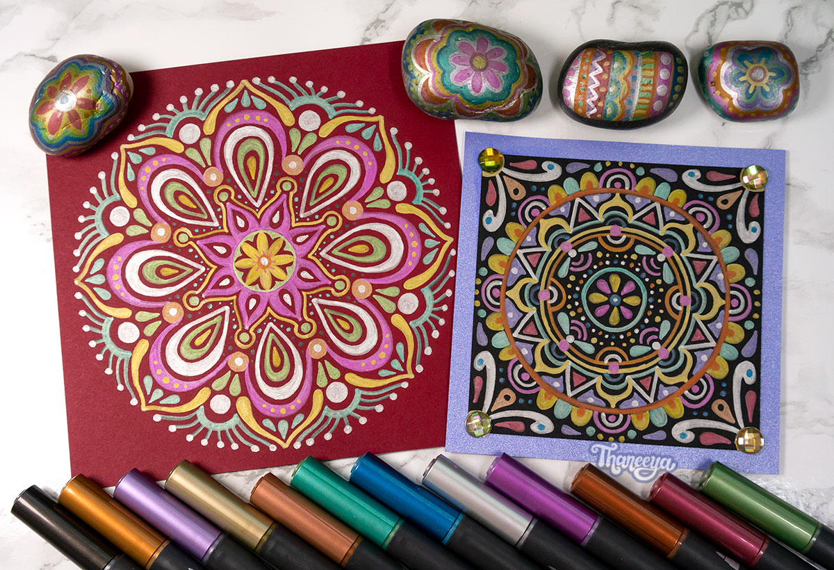 Spectrum Noir Metallic Markers Review - Art on crimson paper, black paper and rocks by Thaneeya McArdle