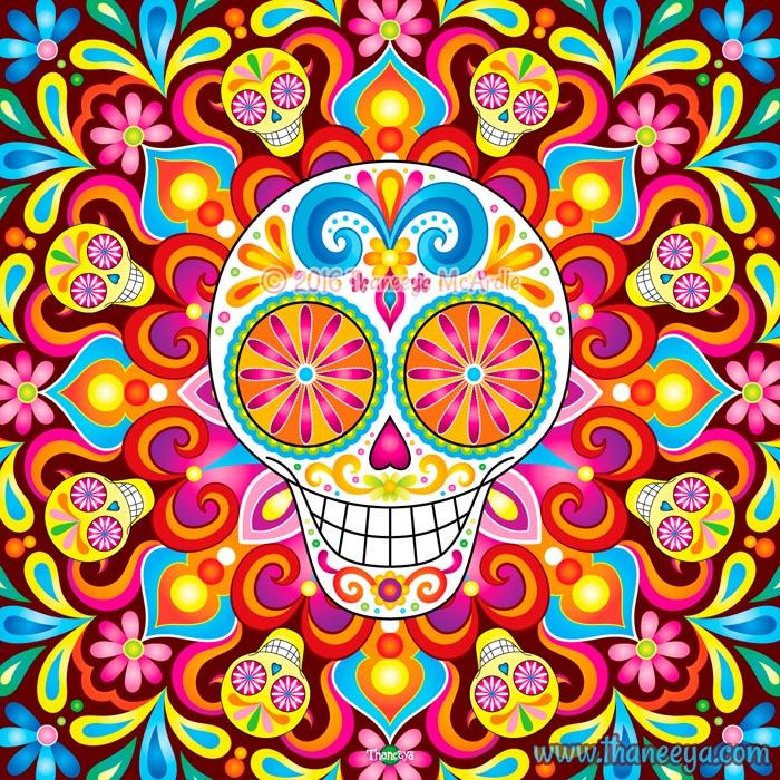 Trip the Light Sugar Skull Art by Thaneeya
