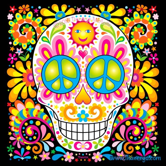 Spree colorful sugar skull art by thaneeya mcardle