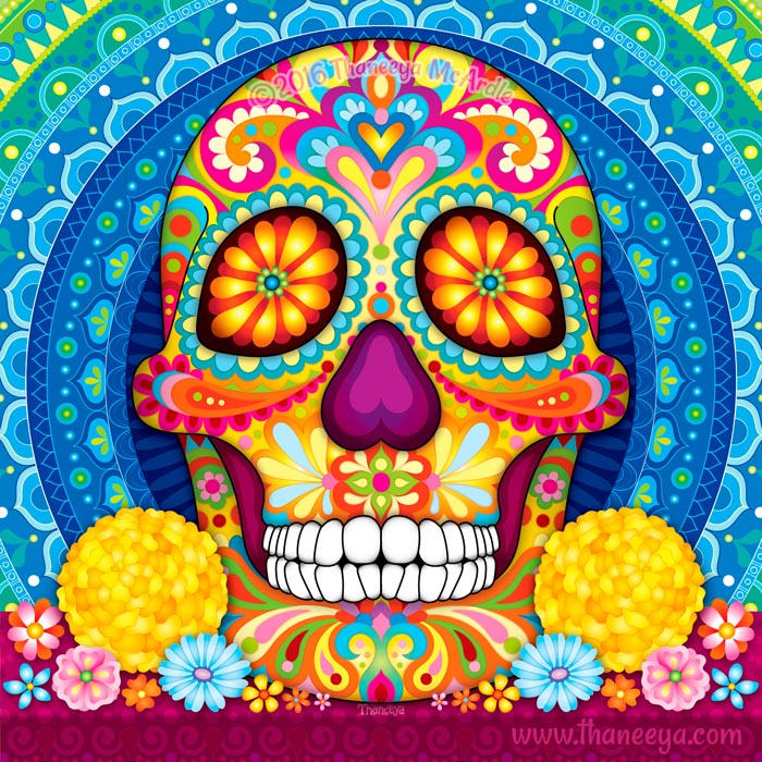 Incandescent Colorful Sugar Skull by Thaneeya