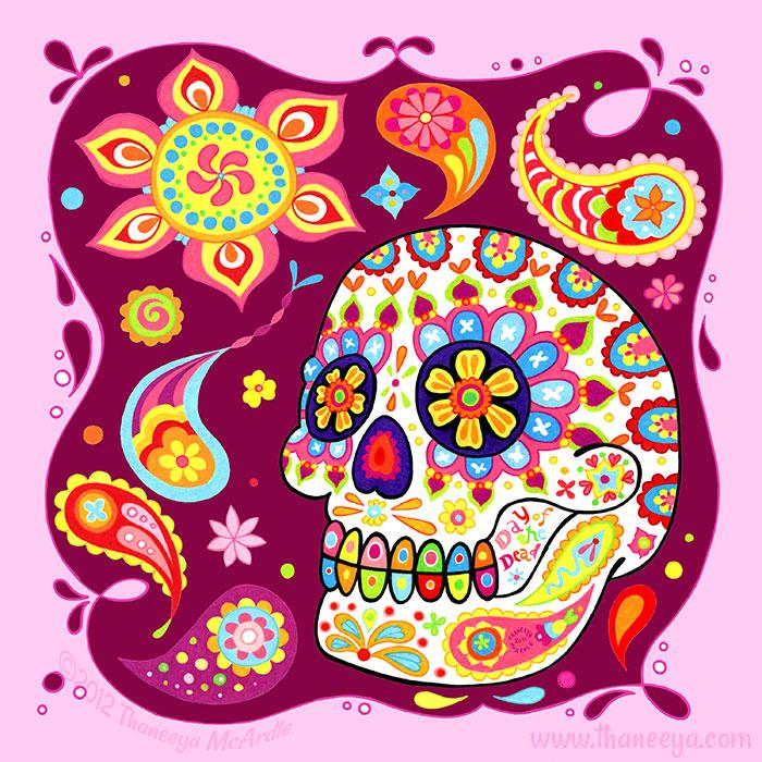 Colorful Sugar Skull Artwork by Thaneeya