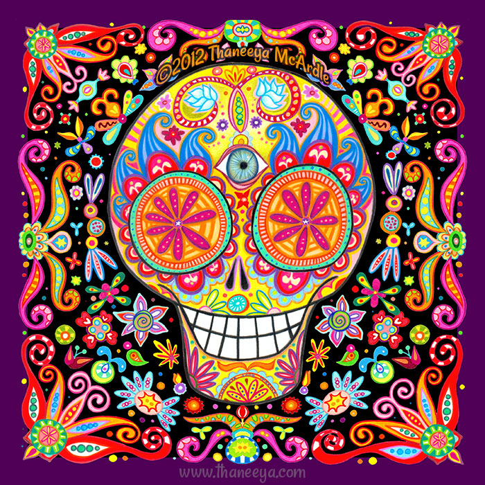 Colorful Day of the Dead Skull