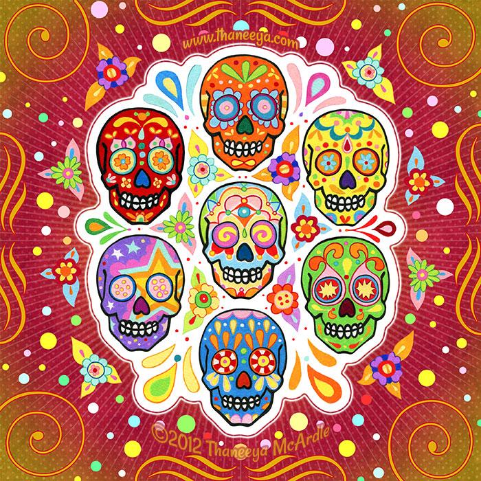 Colorful Calaveras Art by Thaneeya