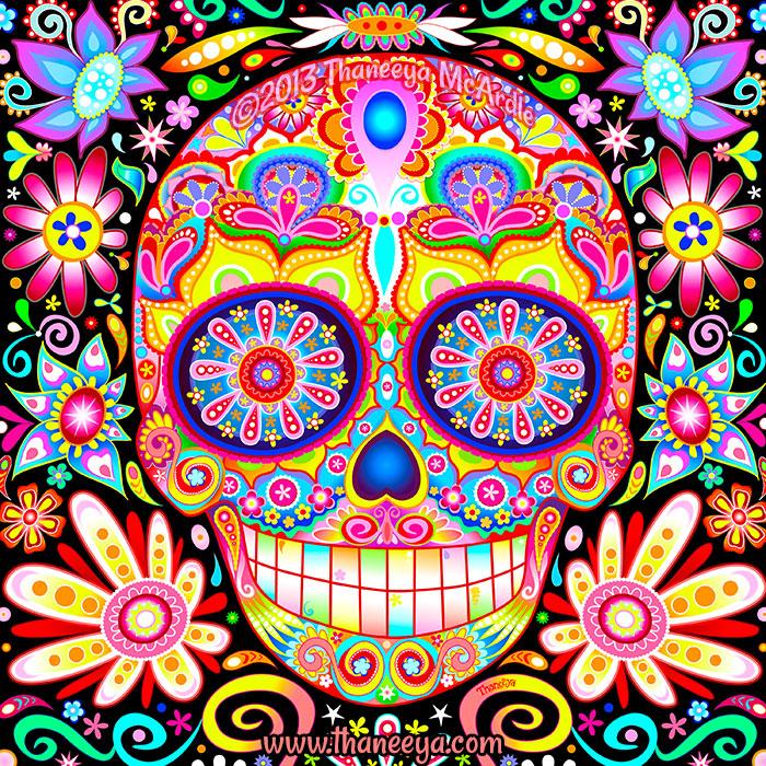 Karma Day of the Dead Sugar Skull by Thaneeya