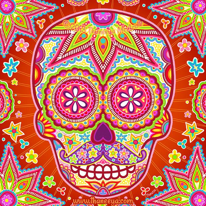 Groovy Sugar Skull with Mustache by Thaneeya
