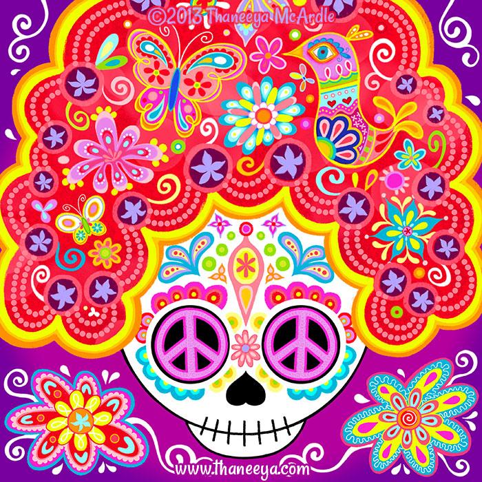 Detailed Beehive Sugar Skull by Thaneeya