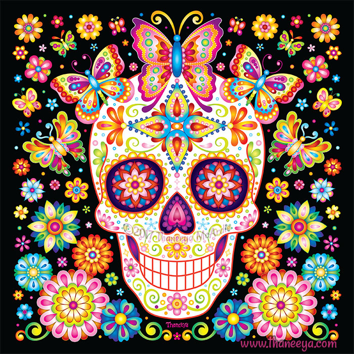 Day Of The Dead Art A Gallery Of Colorful Skull Art Celebrating Dia De Los Muertos Art Is Fun