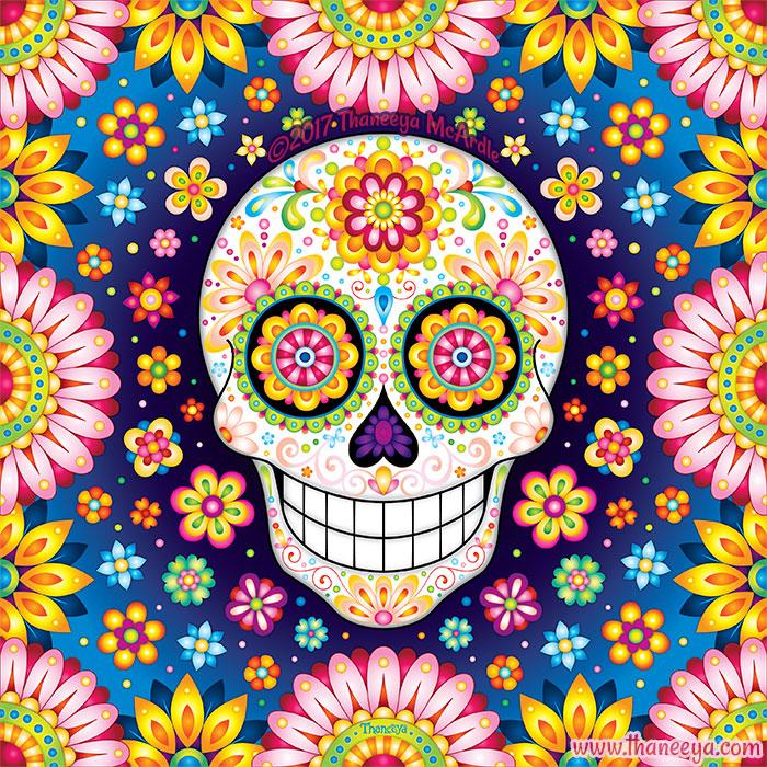 Optimismo Sugar Skull Art by Thaneeya McArdle