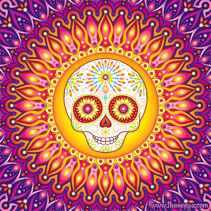 Rays of Light Sugar Skull Art by Thaneeya McArdle
