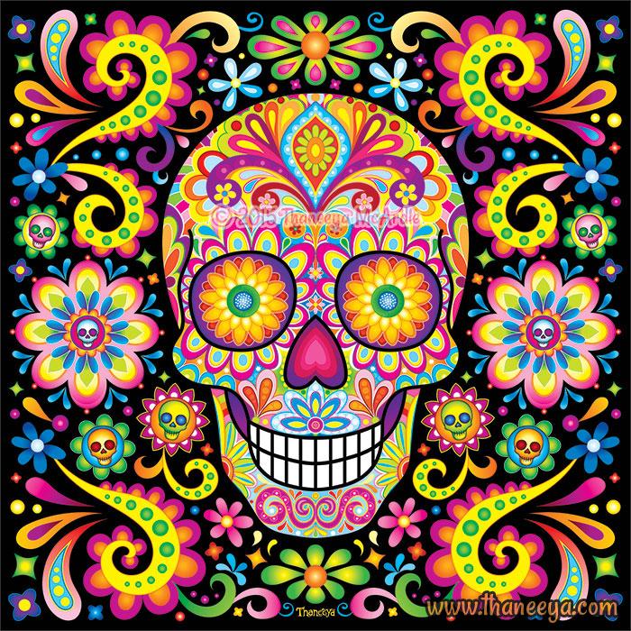 Vibrant Sugar Skull Spark by Thaneeya McArdle