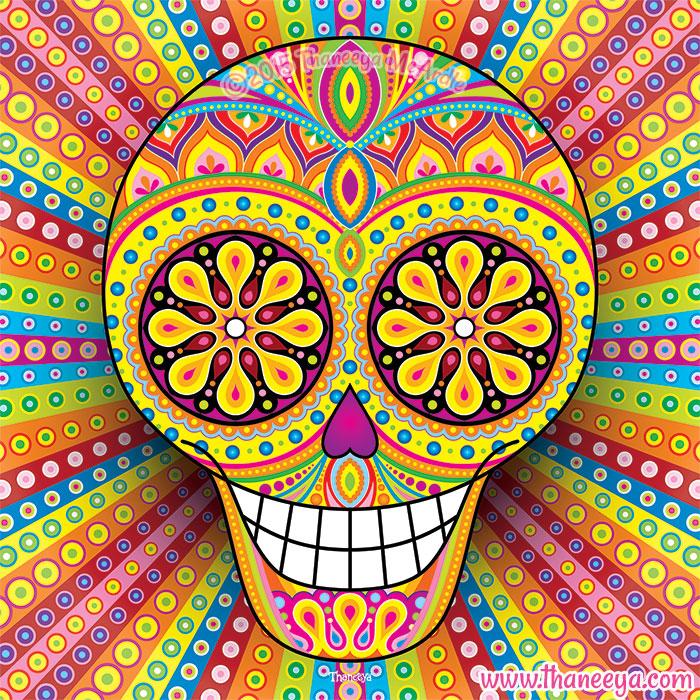 Colorful Sugar Skull Ahora by Thaneeya McArdle