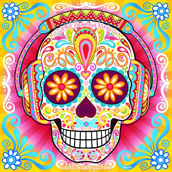 Sugar Skull Wearing Headphones by Thaneeya
