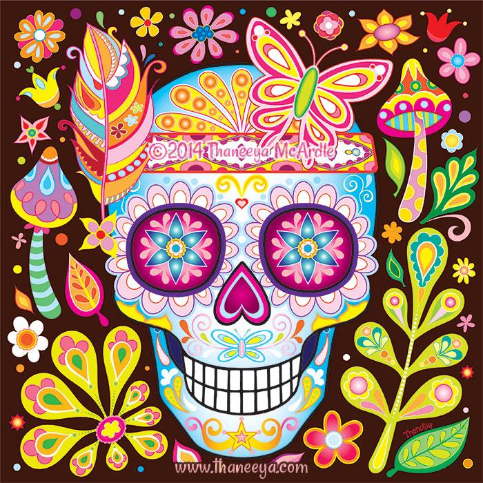 Colorful Nature Sugar Skull by Thaneeya