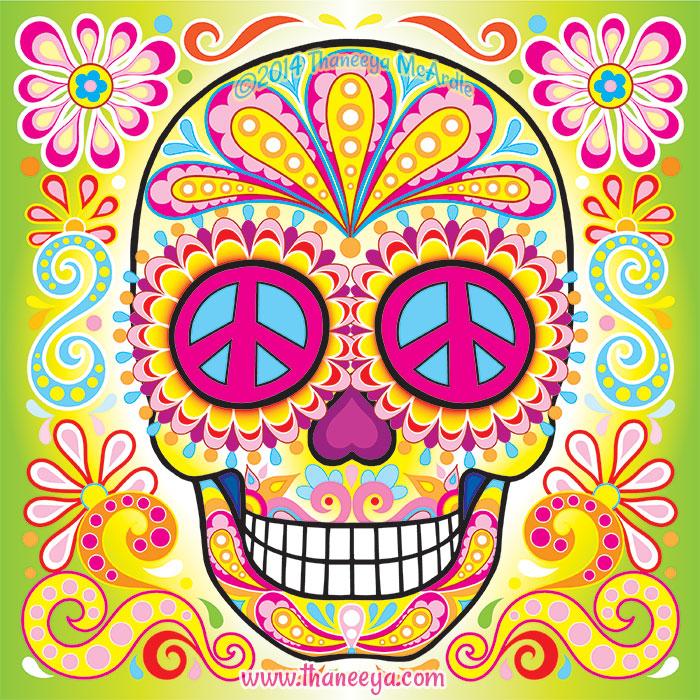 Peace Sign Sugar Skull by Thaneeya McArdle