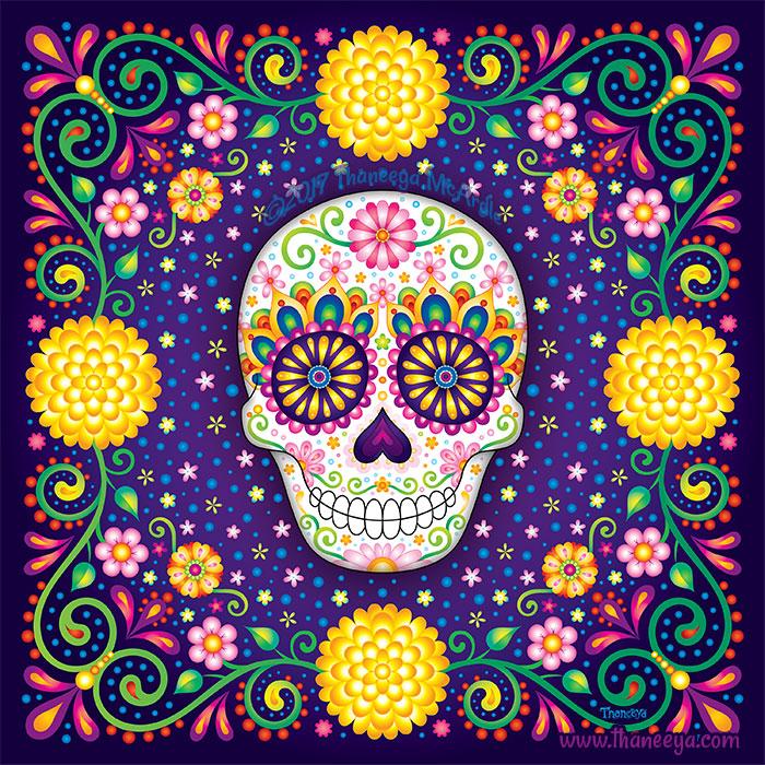Alleluia Sugar Skull Art by Thaneeya McArdle