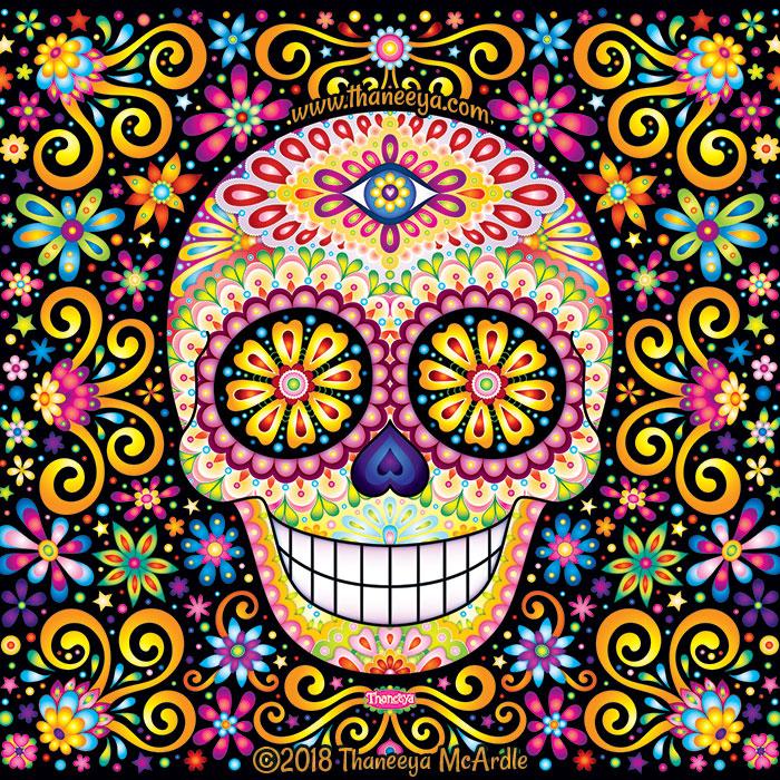 Cosmic Fete Sugar Skull by Thaneeya McArdle