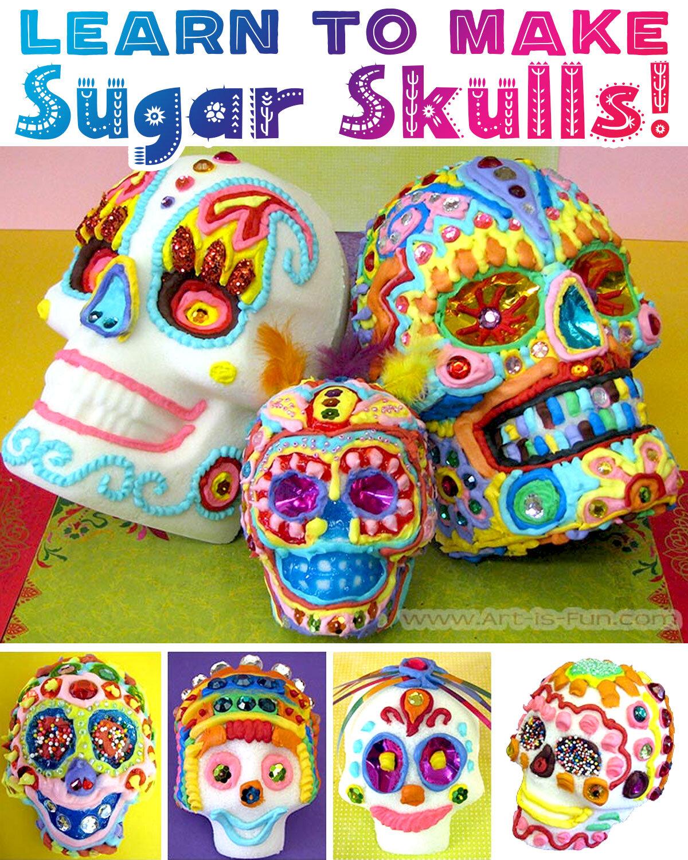 学习如何在这个循序渐进的演示与许多图片的死亡糖头骨的真正的一天!在Art-is-Fun.com