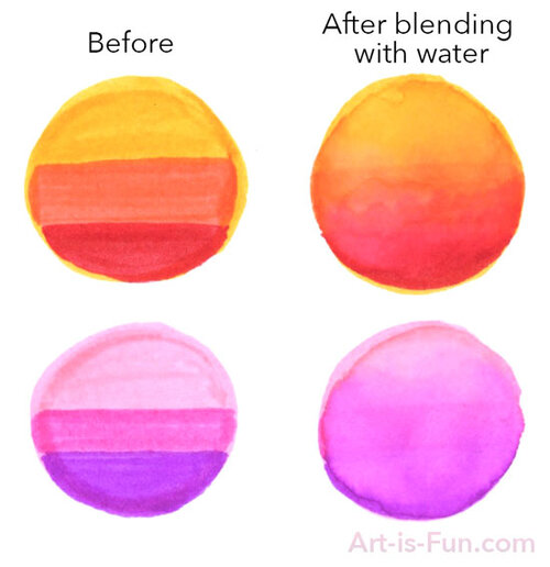 Blending with water-based markers