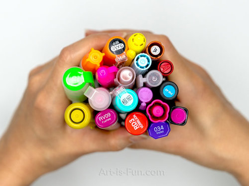 Handful of different marker brands