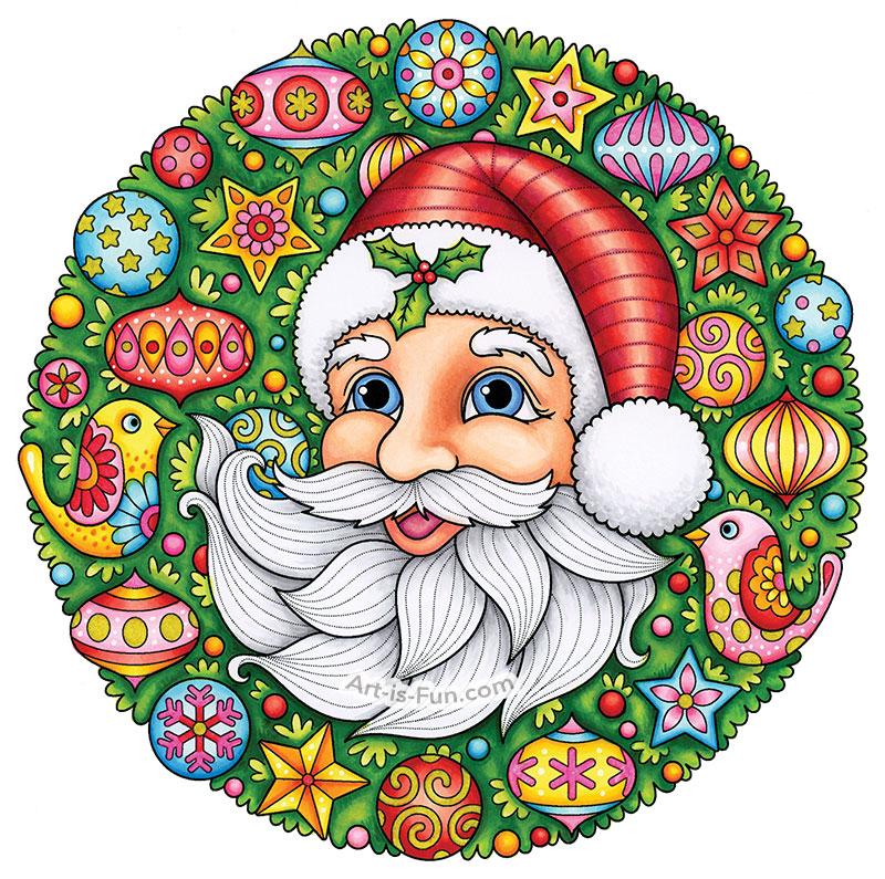 Santa Clause Coloring Page by Thaneeya McArdle