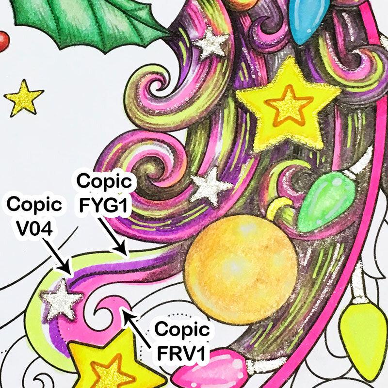 用科普马克笔给我的圣诞独角兽上色。