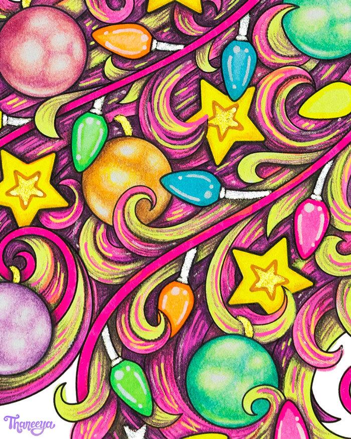 圣诞独角兽鬃毛的特写,这样你就能更好地看到我使用的着色技术。betway必威官网app